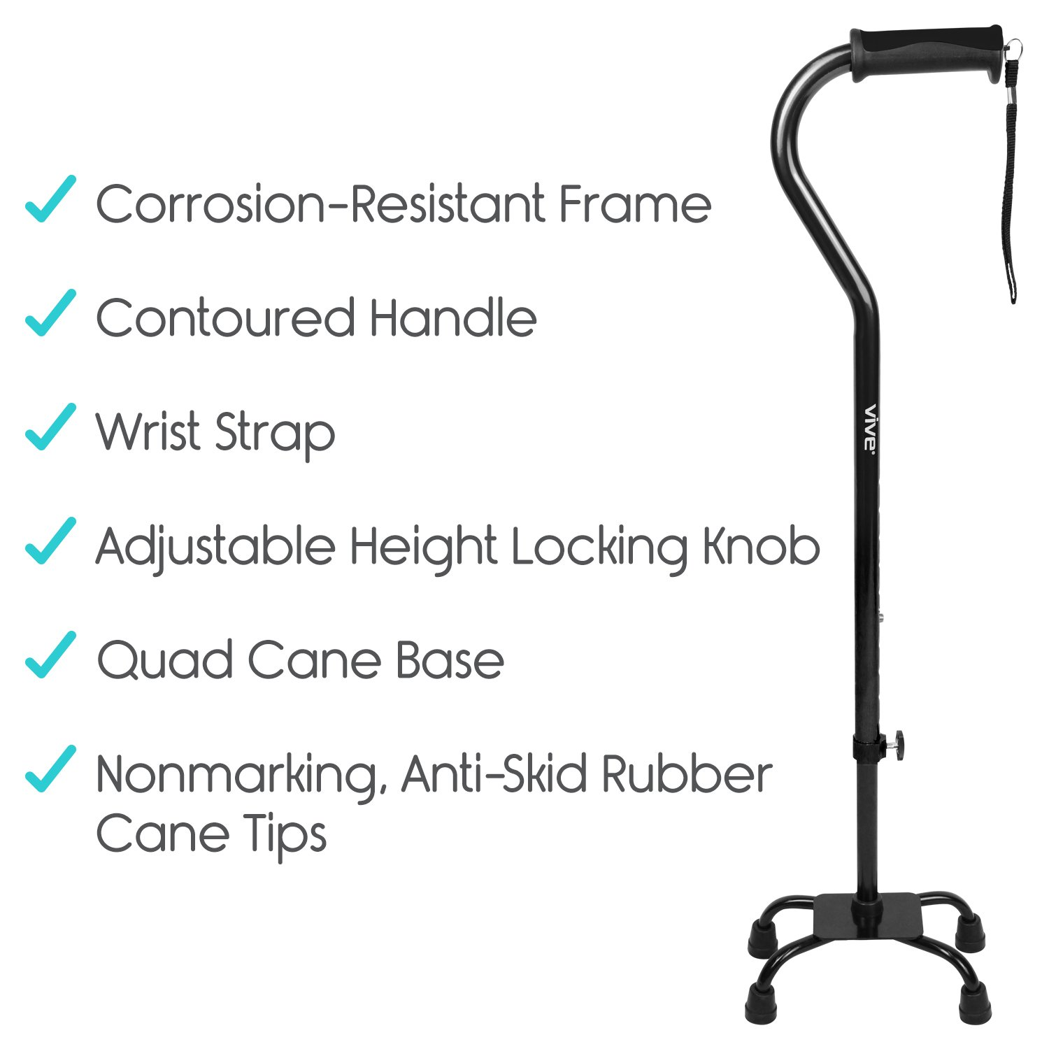 Adjustable Quad Cane by Vive - Lightweight Walking Stick for Men and Women - Walking Staff Can Be Used By Right- or Left-Handed Individuals - Fashionable and Sturdy (Black) by VIVE (Image #9)