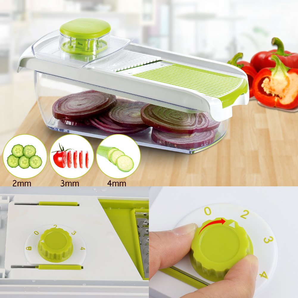 Adjustable Mandoline Food Slicer - 4 Blades - Vegetable Cutter, Cheese Grater, Julienne Vegetable Slicer & Fine Grater - Compact, Veggie Slicer Kitchen Gadget Slicer Dicer, Dishwasher Safe by Chugod (Image #3)