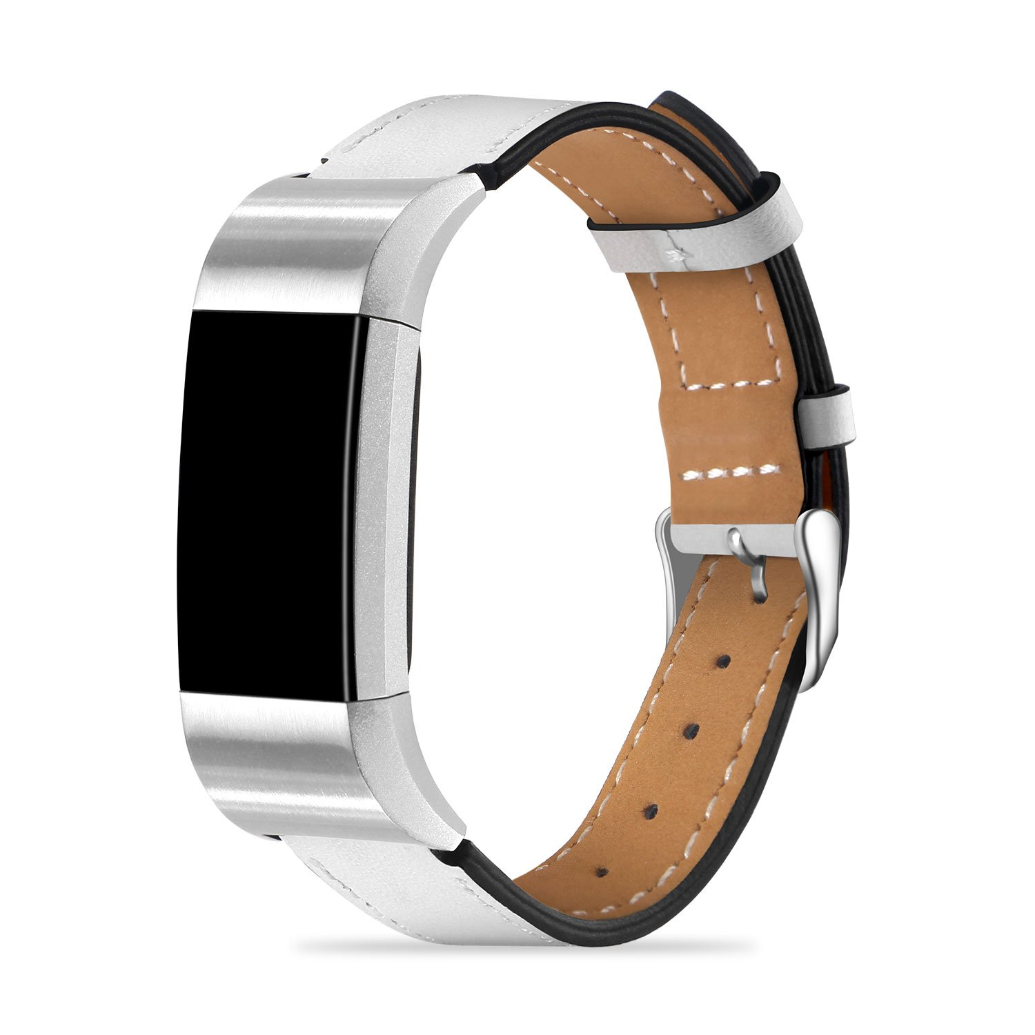 Fitbit Charge 2 Bands - Icheckey Genuine Leather Replacement Wristbands Include Gift Box for Fitbit Charge 2, Large Small Charge 2 Fitness Strap White