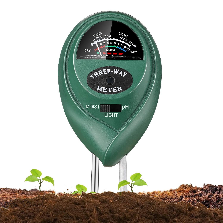 Jellas Soil Moisture Meter 3-in-1 Soil pH Meter Moisture Sensor Sunlight pH Soil Test Kits for Home and Garden, Indoor/Outdoor Plants - Olive Green Soil-pH-Meters-029A