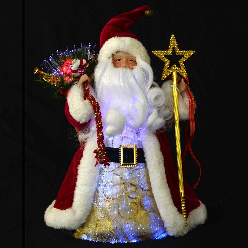 Flying santa fibre optic christmas decoration - Festive 12 Fibre Optic Santa Claus Light Up Colour Change Christmas Decoration Amazon Co Uk Kitchen Home