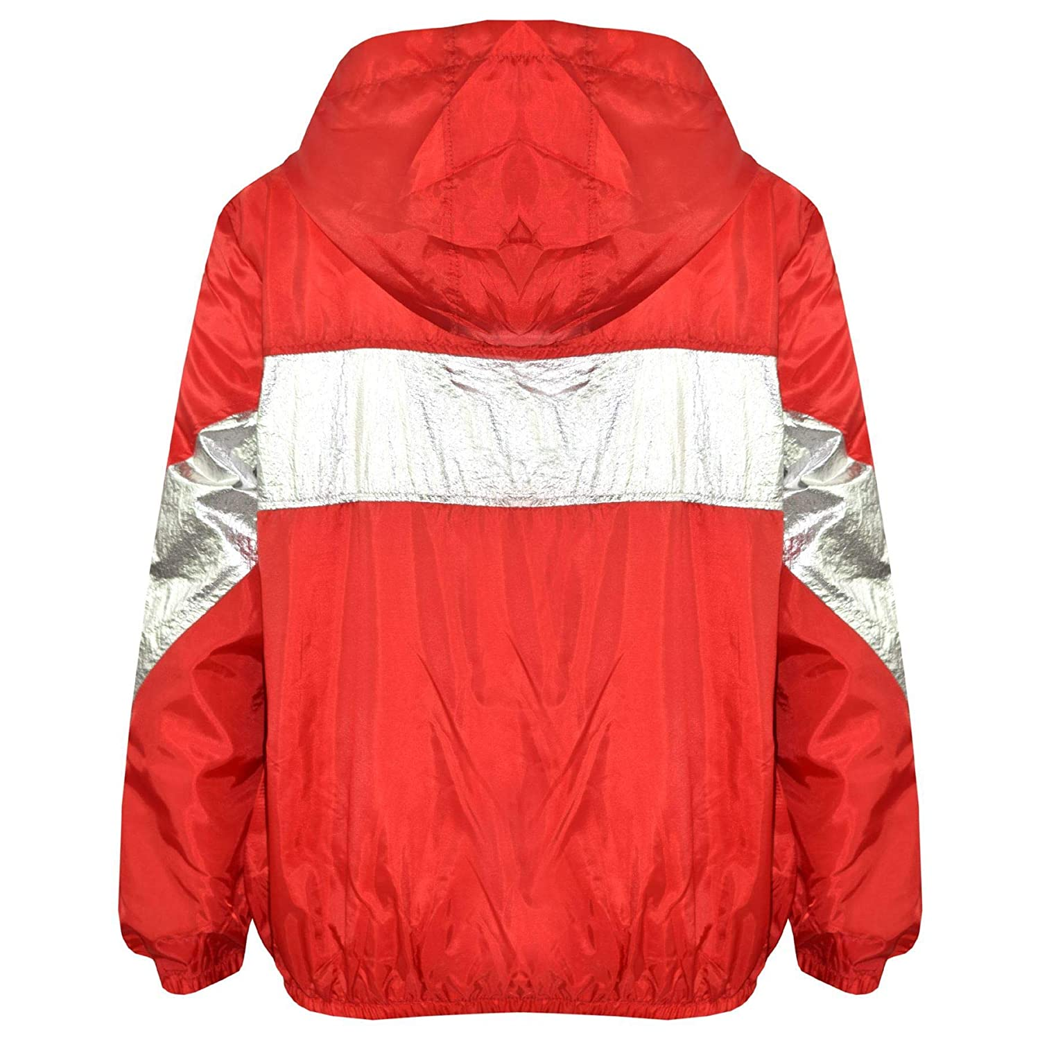 Kids Girls Boys Windbreaker Jackets Block Contrast Hooded Red Cagoule Raincoats