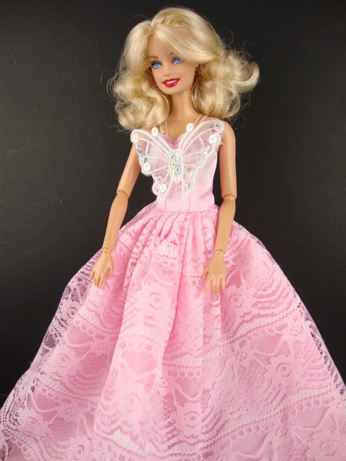 Red Ball Gown with Flower Accent on the Bodice Made to Fit Barbie Doll