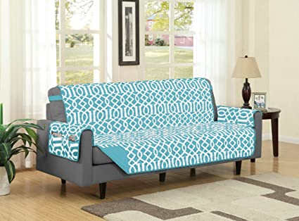 Linen Store Dallas Quilted Reversible Microfiber Furniture Protector With  Strap And Pockets, Turquoise, Sofa