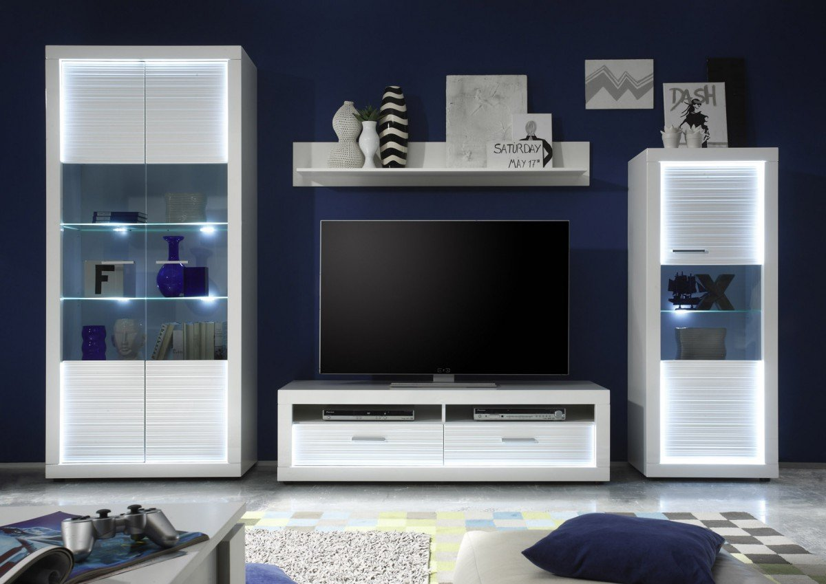 Dreams4home Wohnkombination Marlay V Kommode Schrank Vitrine Tv