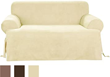 Sure Fit Soft Suede T Cushion   Sofa Slipcover   Cream (SF38643)