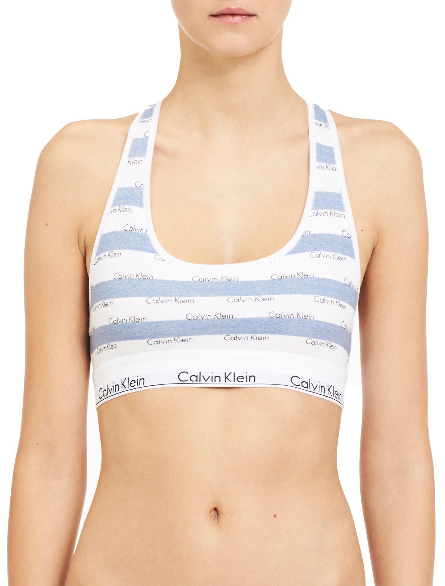 Calvin Klein Women`s Modern Cotton Bralette 1 Pack (Intarsia Logo Stripe(QF4105-480)/White, Medium)