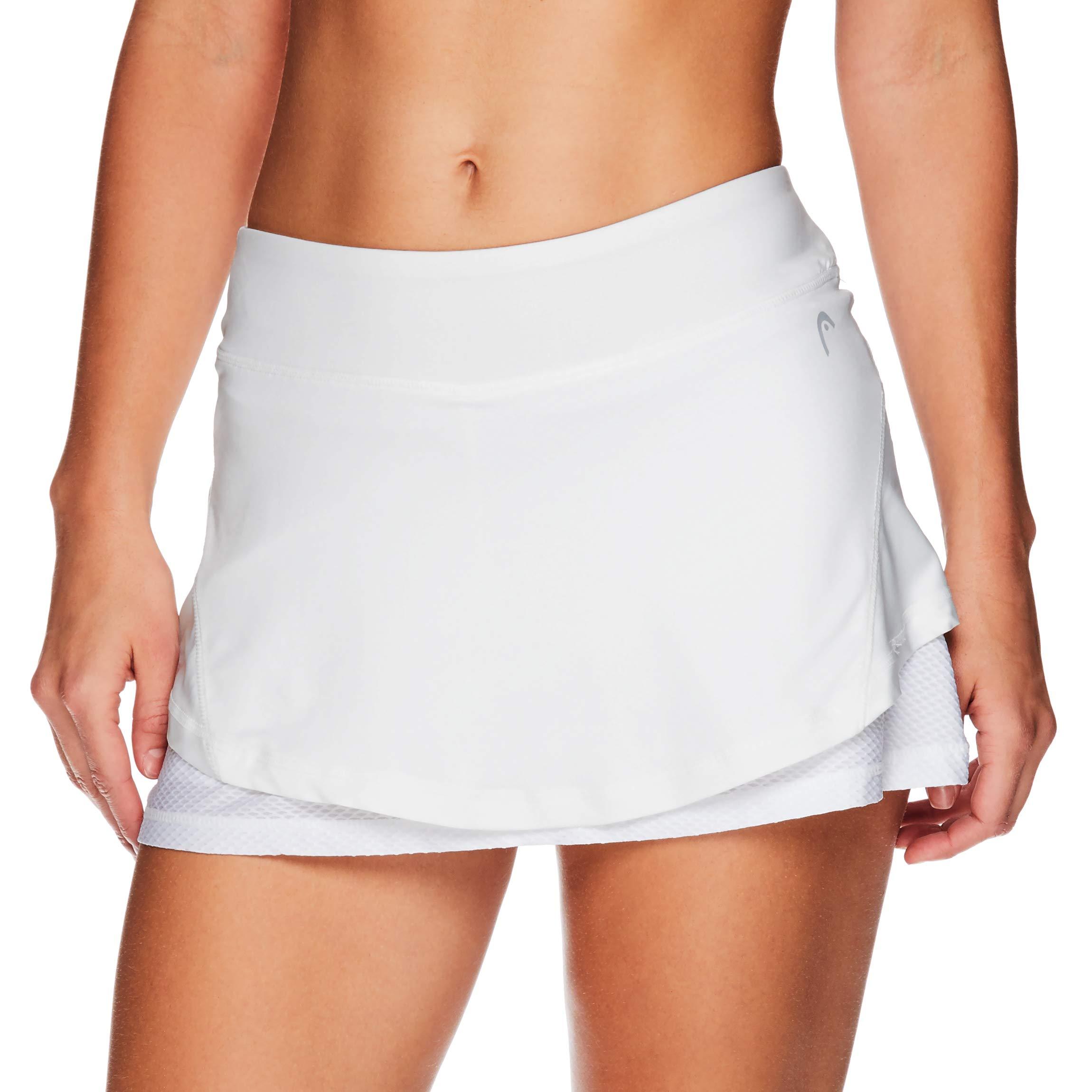 HEAD Women's Athletic Tennis Skort - Performance Training & Running Skirt - Valiant Stark White, Large