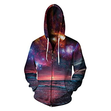 Matterin Christiao New Hoodies Men Sudaderas Hombre 3D Printed Galaxy Hooded Zipper Hoodie Sweatshirt Casual Pullovers