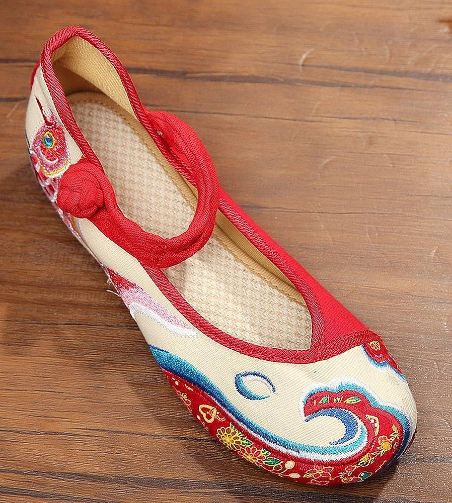 Amazon.com | AvaCostume Womens Koi Embroidery Multicolor Flats Casual Shoes  | Flats