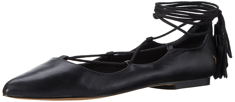 Windsor Smith Damen (Schwarzes Strapp Ballerinas Schwarz Matt (Schwarzes Damen Leder) 409785