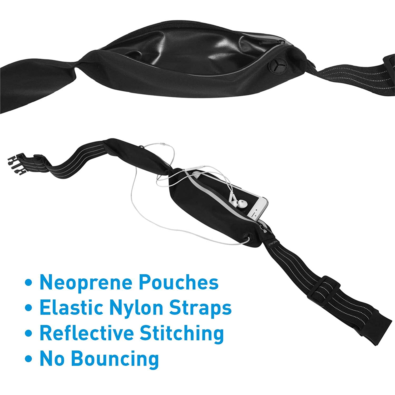 Night Run Macally Running Belt Waist Pack with Slim Low Profile-Compact Design Perfect No Bounce Fanny Pack for Phone Hiking Cycling Reflective Fitness Gear for Men /& Women for Jogging Mace Group Inc // Macally Peripherals RUNBELTSTRIP Black
