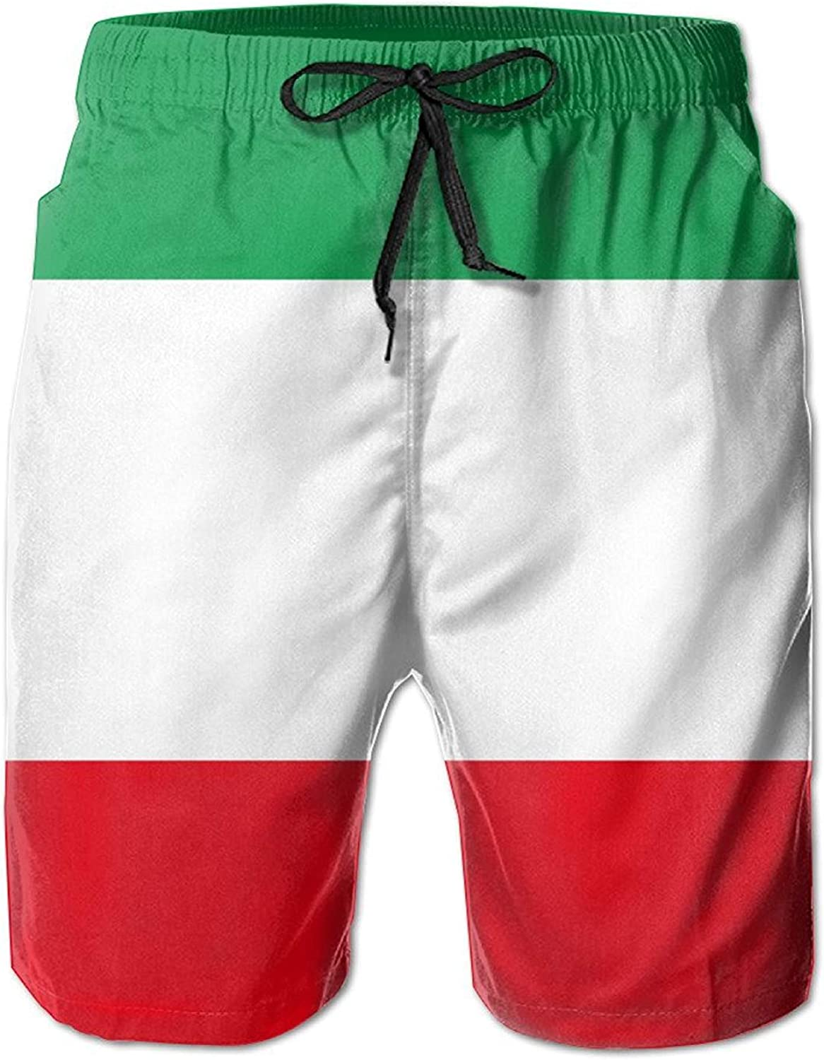 HONGZHESM New Mens Flag of Italy Leisure Ultra-Light Sandy Beach Pants Board Shorts with Telescopic Tape Large