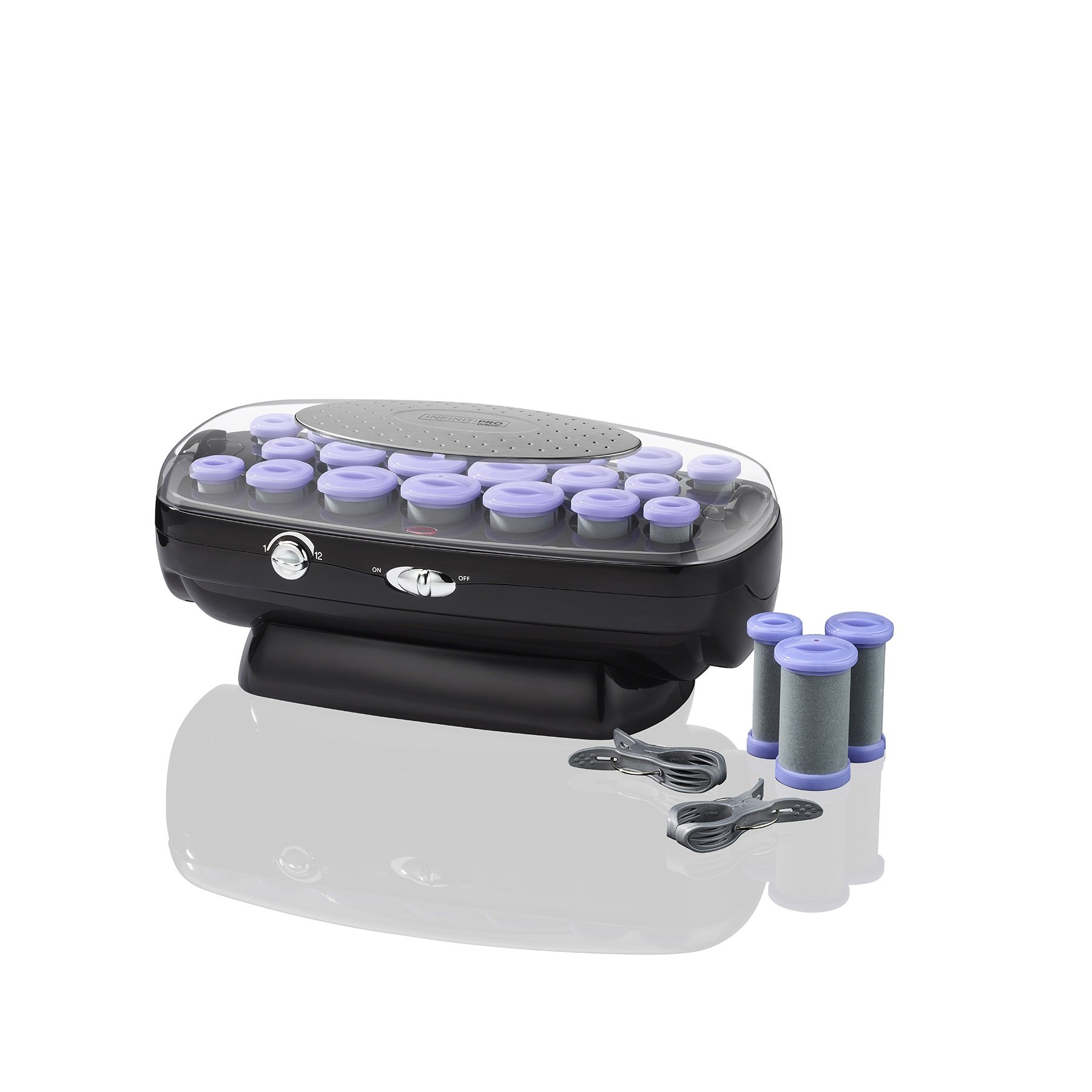 INFINITIPRO BY CONAIR Ceramic Flocked Hot Rollers w/Cord Reel; 20 Hair Rollers in 3 Sizes