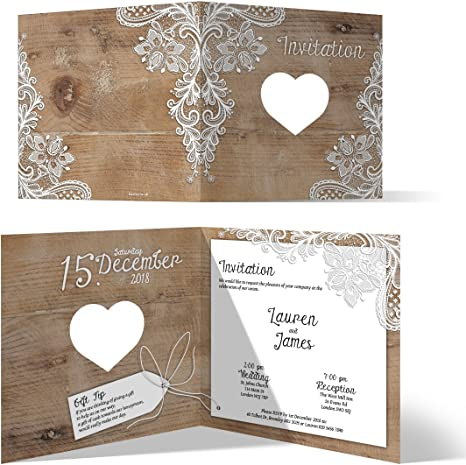 30 X Laser Cut Wedding Invitation Cards Invites Own Wording Rustic Lace Pattern