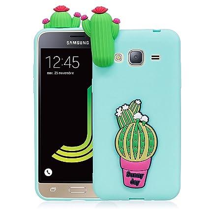 Funda para Samsung J3 2016, CaseLover 3D Linda Dibujos Animados Carcasa para Samsung Galaxy J3 2016 J310 Suave TPU Silicona Protectora Caso Ultra ...