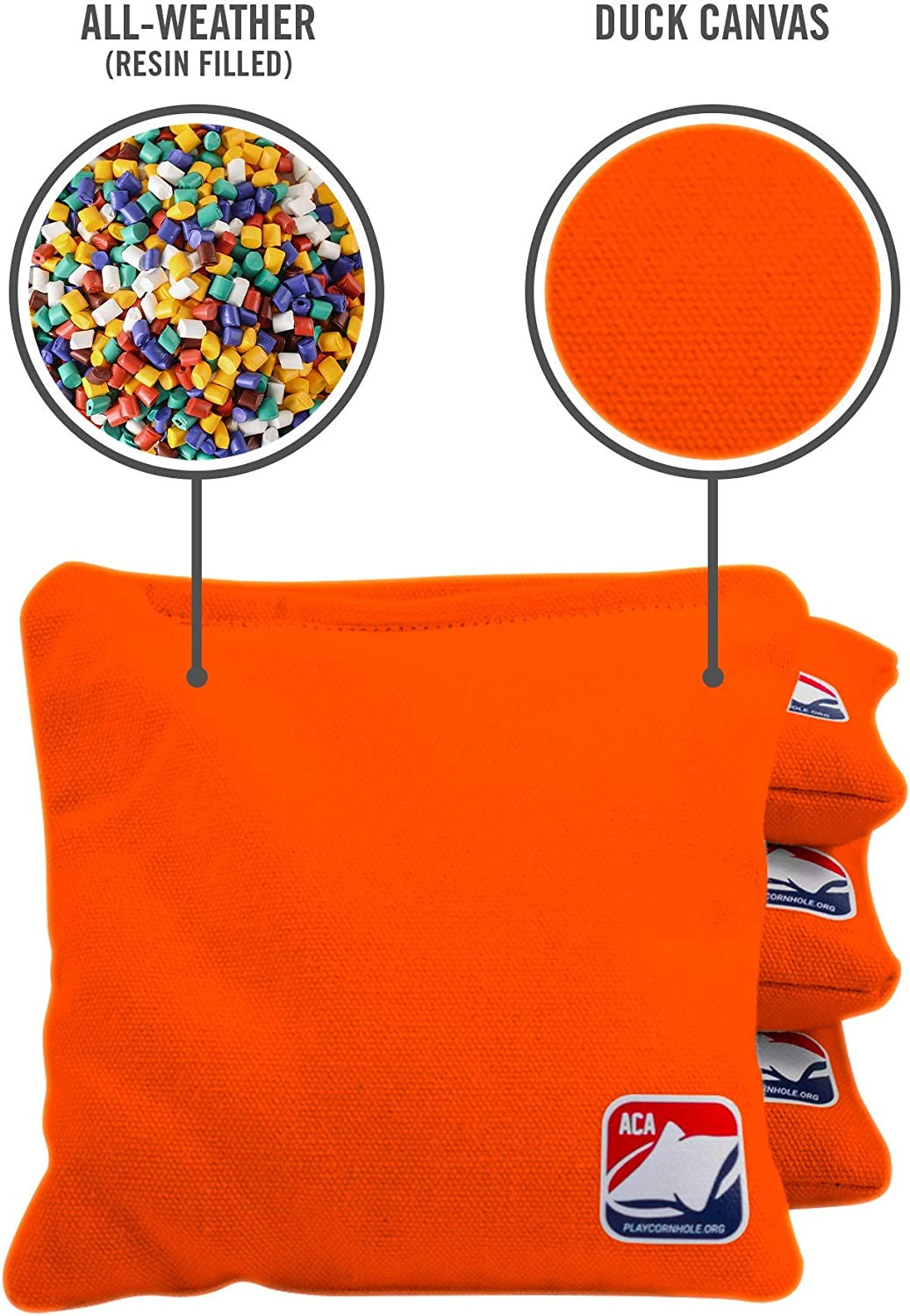 Orange Official Weather-Resistant Cornhole Bags from The American Cornhole Association 6 All-Weather Double-Stitched Resin-Filled Bean Bags for Corn Hole Outdoor Game