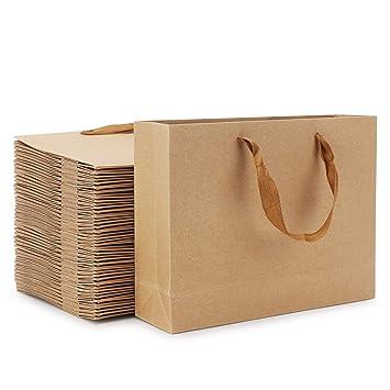Amazon.com: 50 bolsas de regalo de papel kraft, bolsas de ...