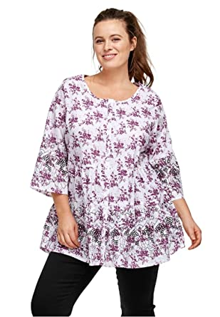 09b37a7a6d81d Ellos Women s Plus Size Tiered Floral 3 4 Sleeve Tunic - Boysenberry White  Print