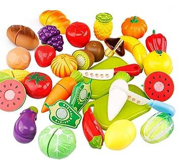 Hosaire 29 Piezas Corte de Juguetes de Frutas Hortalizas y Pan Juego de Plástico Para Niños