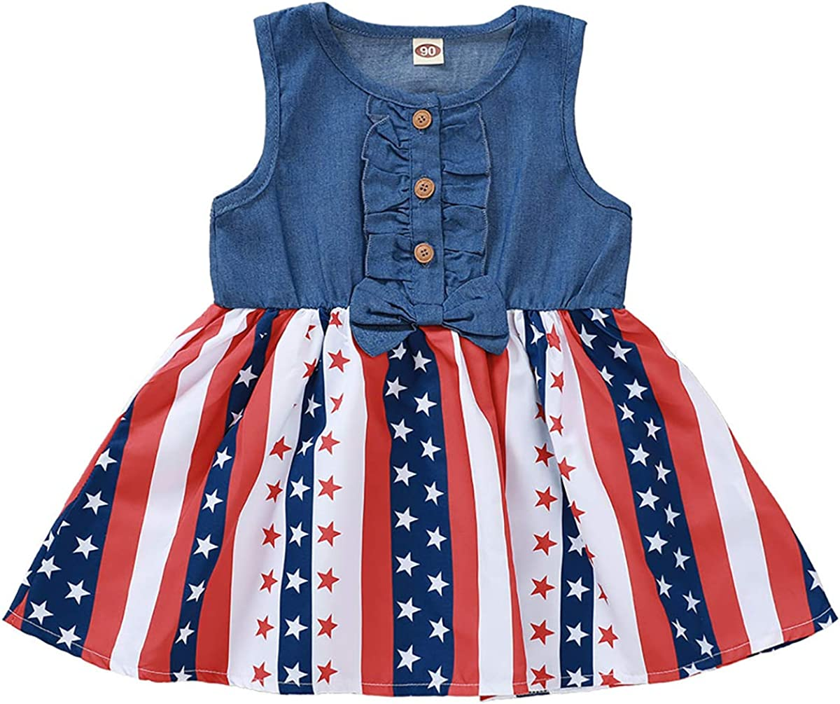 LYSMuch Toddler Baby Girl Independent Day Clothes Sleeveless American Flag Skirt Denim Sundress Tunic Tops
