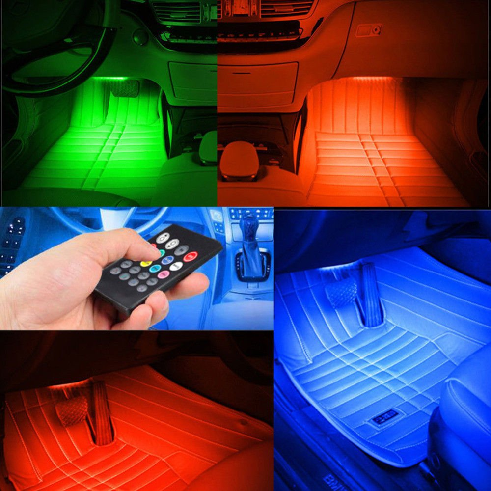 Semoic 4 XDC12V 12 LED Luci USB Wireless Music Control 8 Colori RGB Luci Interne per Auto