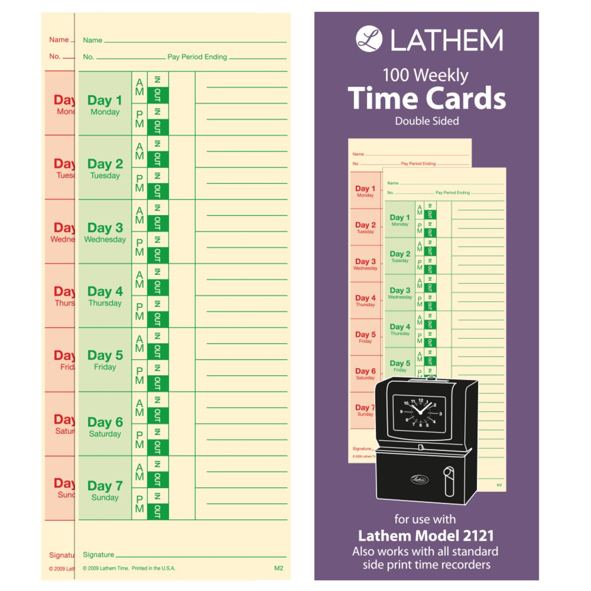 Lathem Weekly Time Cards, Double-Sided, for Lathem Model 2121/Side-Print Time Clocks, 100 Pack (M2-100) Lathem Time Corporation