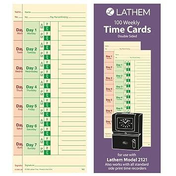 Amazon.com : Lathem Weekly Time Cards, Double-Sided, for Lathem ...