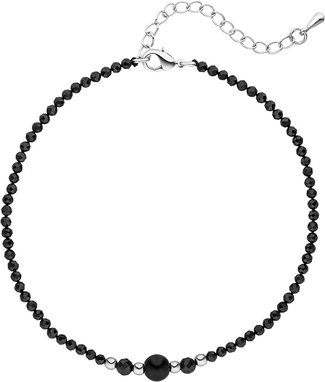 Jobo Damen-Fu/ßkette aus schwarzem Spinell mit H/ämatin 27 cm