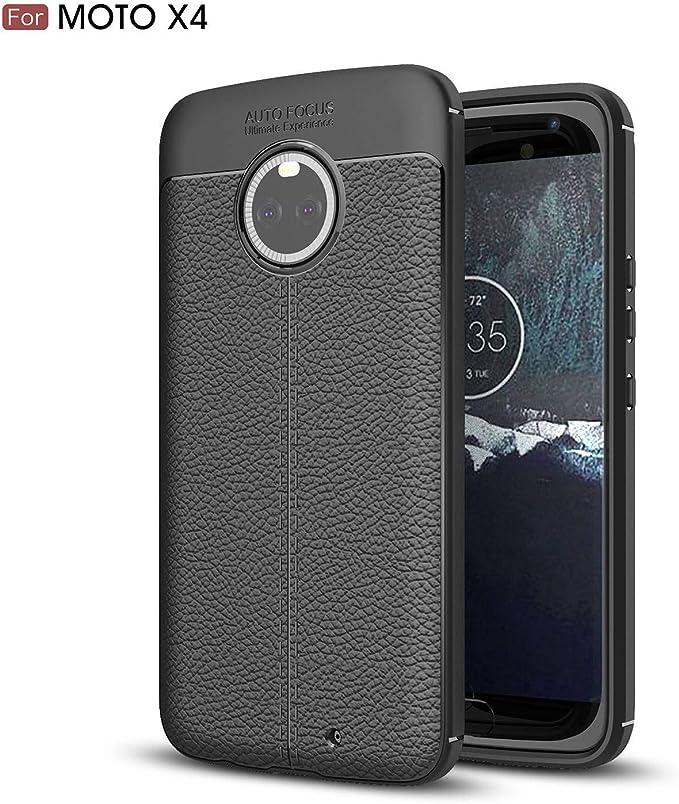 Ycloud Resilient TPU Funda para Motorola Moto X4 Delgado Silicona Case Shock-Absorción Litchi Textura Back Cover Negro Carcasa para Motorola Moto X4: Amazon.es: Electrónica