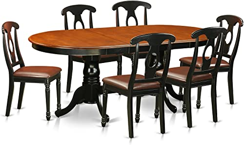 PLKE7-BCH-LC 7 Pc Dining room set-Dining Table with 6 Wooden Dining Chairs