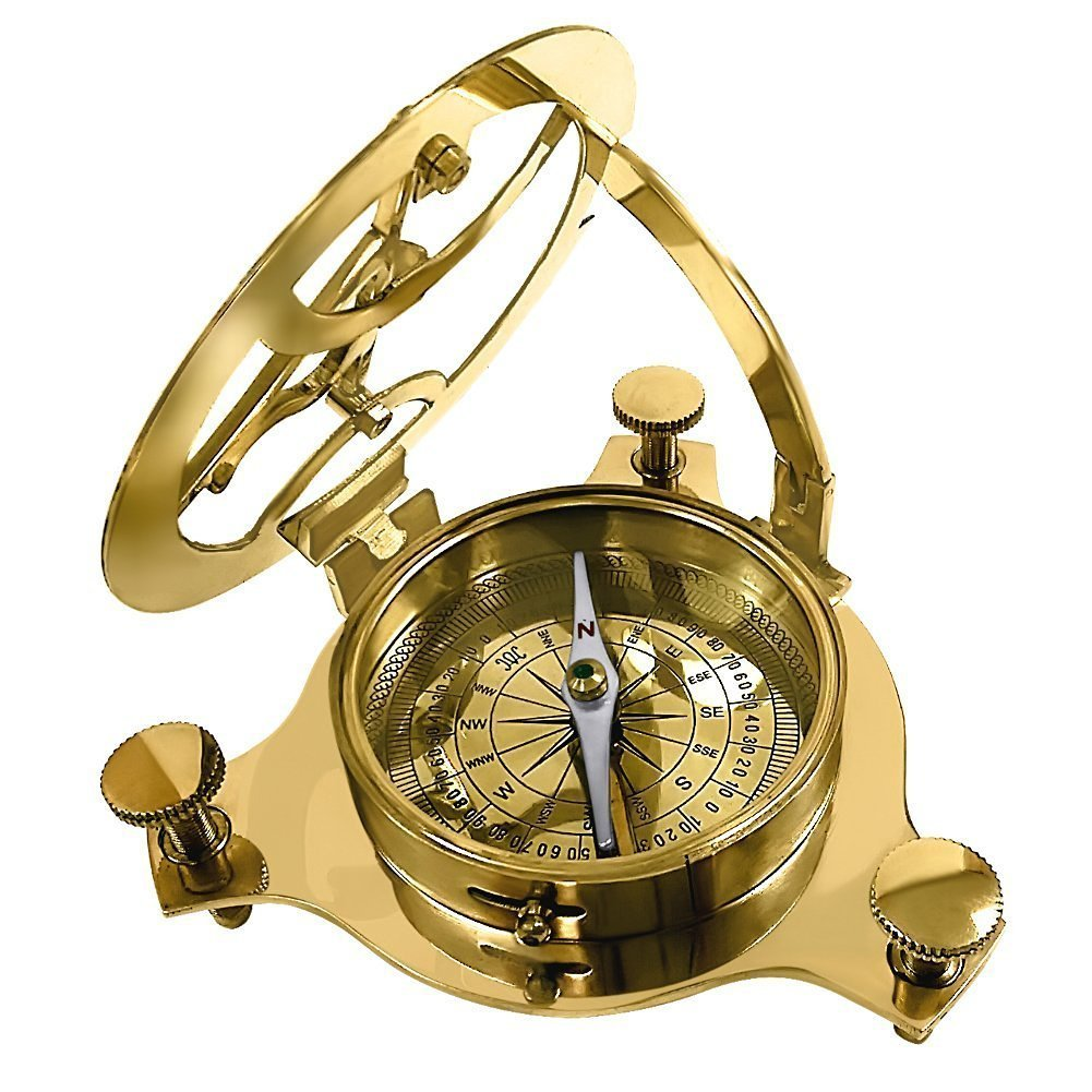 Captain Brass Sundial Compass with Hardwood Wooden Box 4''