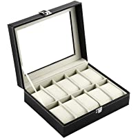 Okayji Leather Watch Storage Box Display Case Organizer with Finish and Glass Window with 10 Slots 25 x 20 x 8 cm, 1- Piece