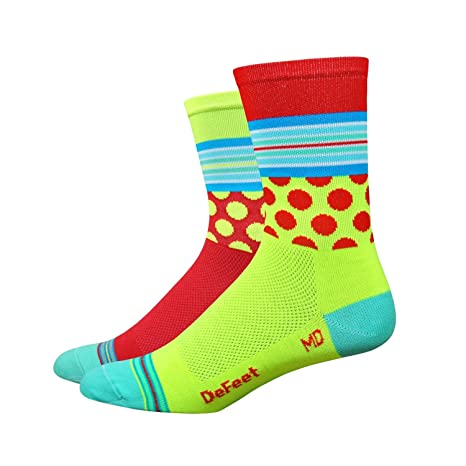 DeFeet Aireator Mash Up calcetines - AIRTMMYR101 SMALL, Hi-vis Yellow & Red