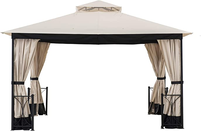 Amazon Com Sunjoy A101012400 Ethan 10 X 12 Ft Steel Gazebo With 2 Tier Hip Roof Beige Black Garden Outdoor
