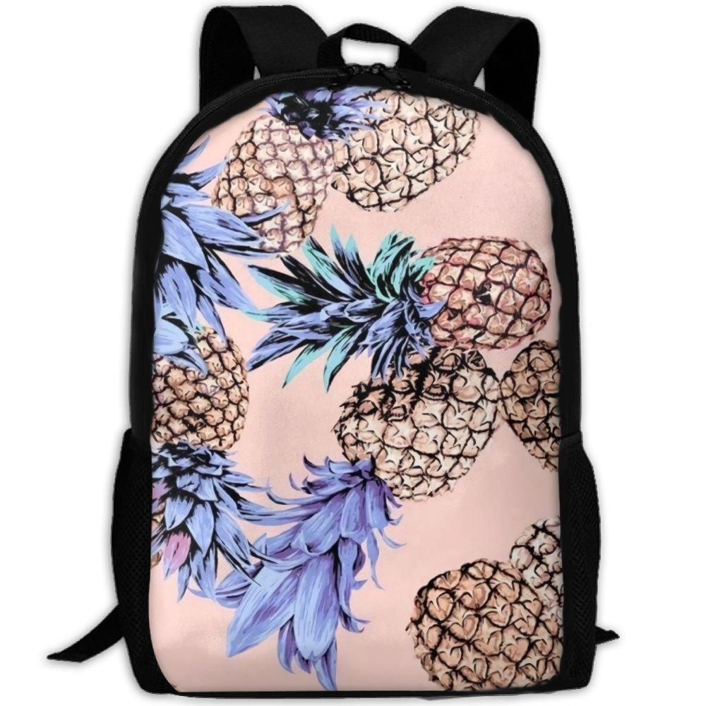 OIlXKV Watercolor Pineapple Art Print Custom Casual School Bag Backpack Multipurpose Travel Daypack For Adult
