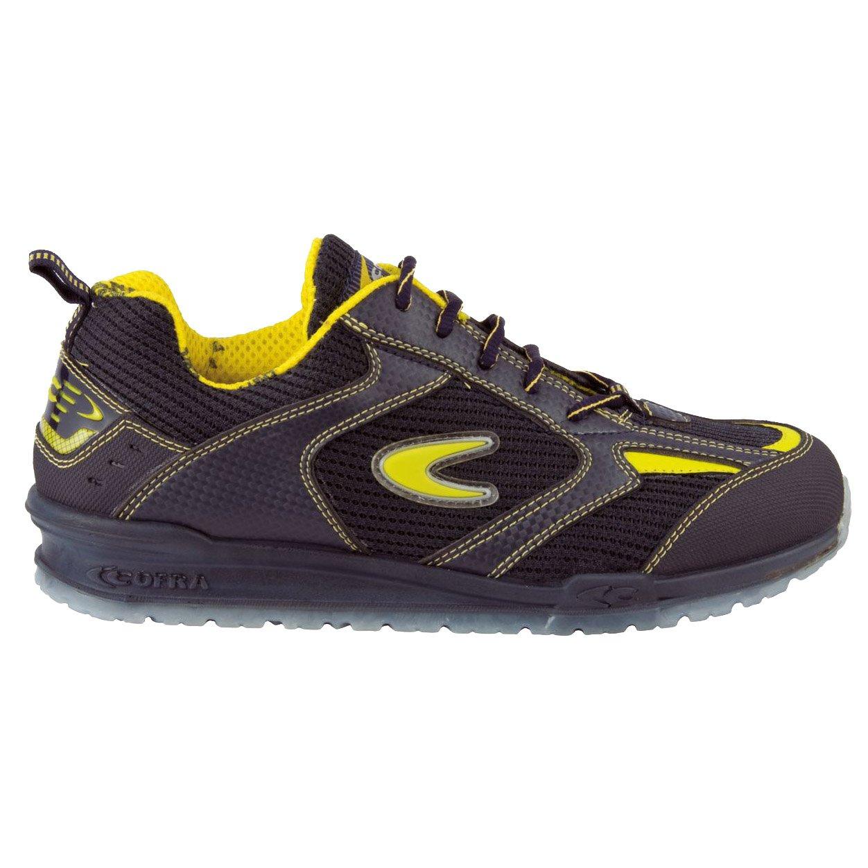 Zapatos de Seguridad, de la Marca Cofra, Modelo Bartali, 78480-000 W43, tamañ o 43 O1 SRC FO, Color Negro/Amarillo tamaño 43O1SRC FO 78480-000.W43