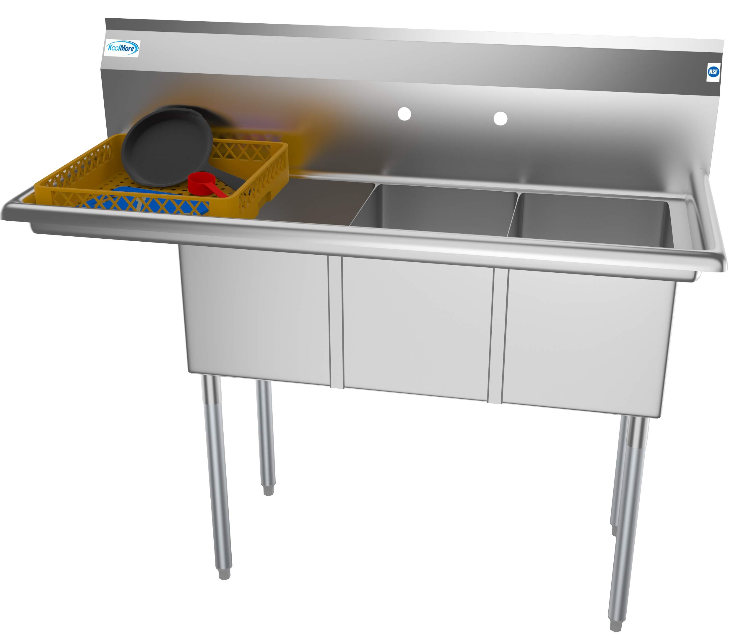 KoolMore 3 Compartment Stainless Steel NSF Commercial Kitchen Sink with Drainboard - Bowl Size 12'' x 16'' x 10'',Silver