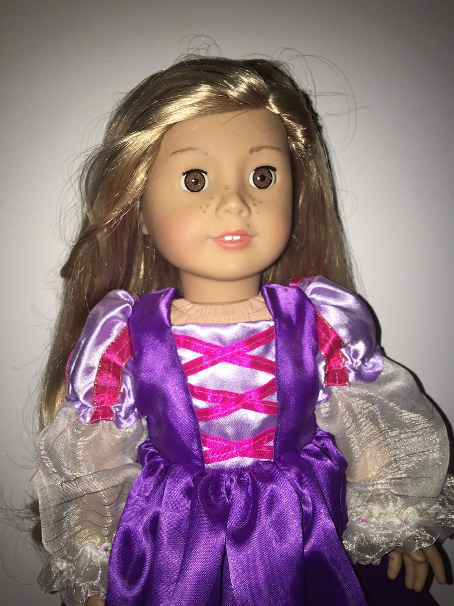 Fits American 18 Girl Doll Clothes Renaissance Rapunzel Inspired Long Gown Purple Clothes Only