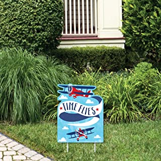 product image for Big Dot of Happiness Taking Flight - Airplane - Outdoor Lawn Sign - Vintage Plane Baby Shower or Birthday Party Yard Sign - 1 Piece
