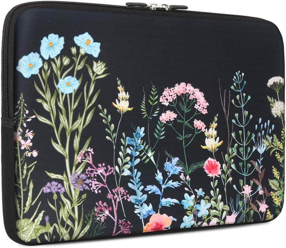 iCasso 13-13.3 inch Laptop Sleeve Bag, Waterproof Shock Resistant Neoprene Notebook Protective Bag Carrying Case Compatible MacBook Pro/MacBook Air - Weeds