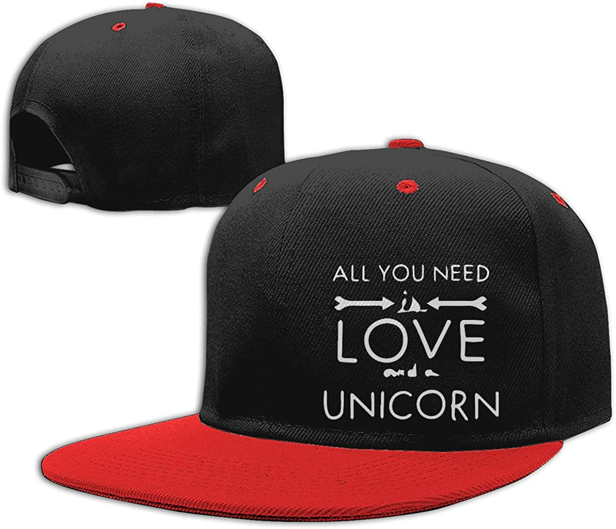 Women Men Dad Hat All You Need is Love and A Unicorn Classic Flat Bill Baseball Caps