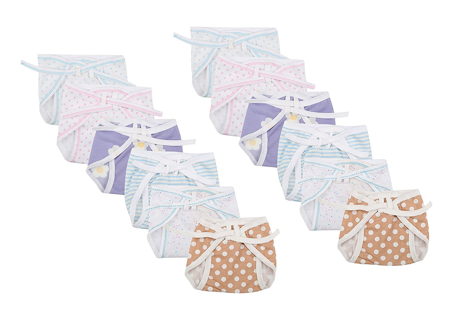 FARETO Newborn Baby Hosiery Cotton Cloth Nappies Pack Of 12 Pcs (Multi)(0-3Months)