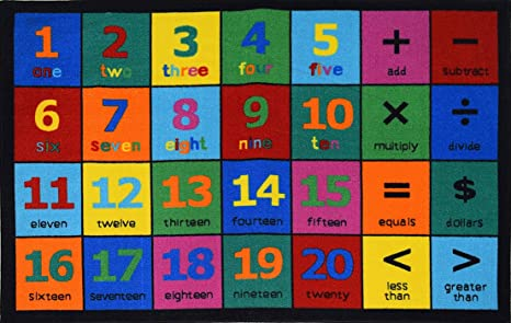 Play Time Kids Area Rug Numbers Learning Carpet 7 9 X 10 Red Green 5 Reversible Furniture Decor