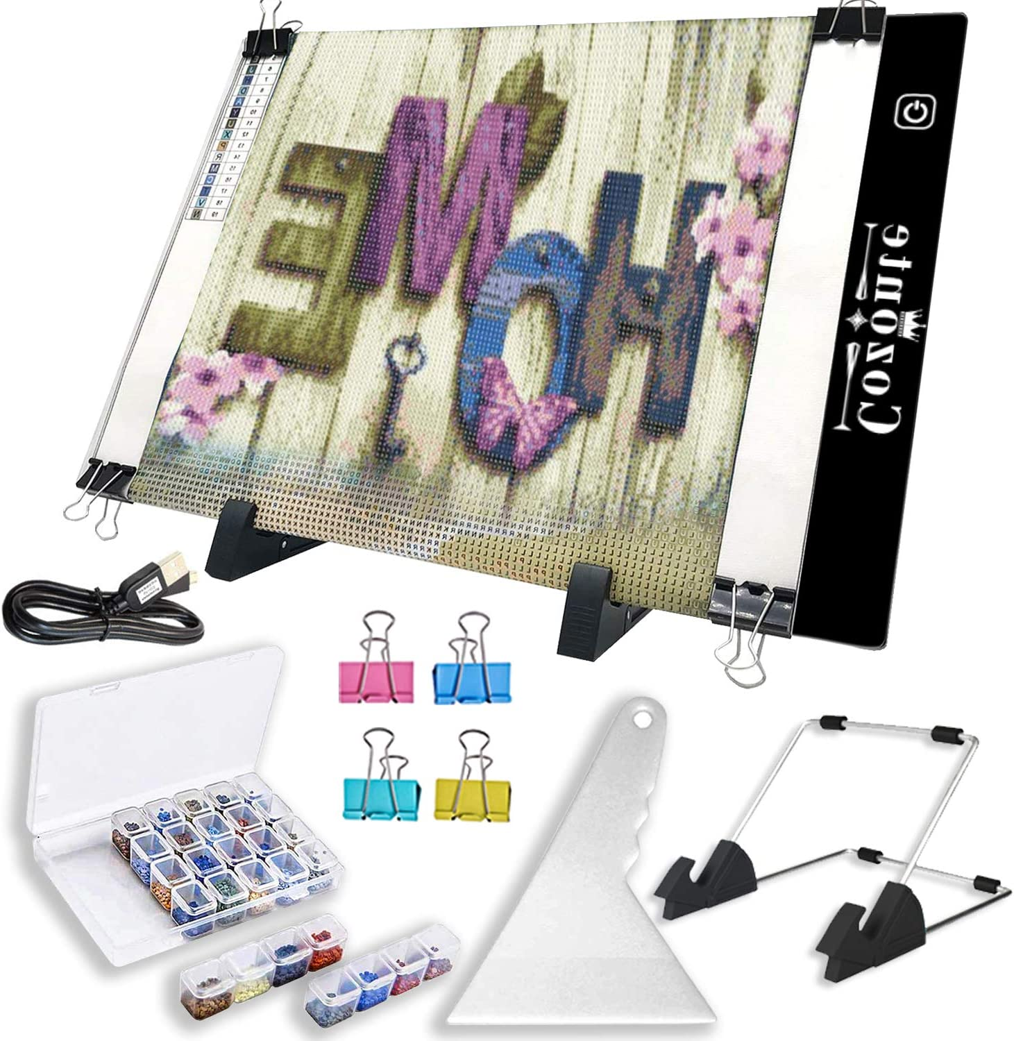 Diamond Painting Accessories A3 Light Box X-ray Viewing et. Designing Cozonte Ultra-Thin A3 LED Light Pad Third Level Touch Dimmer 12W Super Bright Light for Diamond Painting Sketching