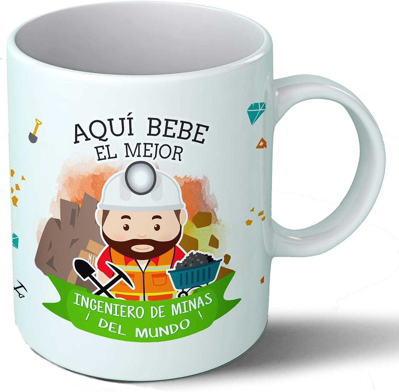 Planetacase Taza Desayuno Aquí Bebe el Mejor Ingeniero de Minas del Mundo Regalo Original Ingenieros Ceramica 330 mL ...