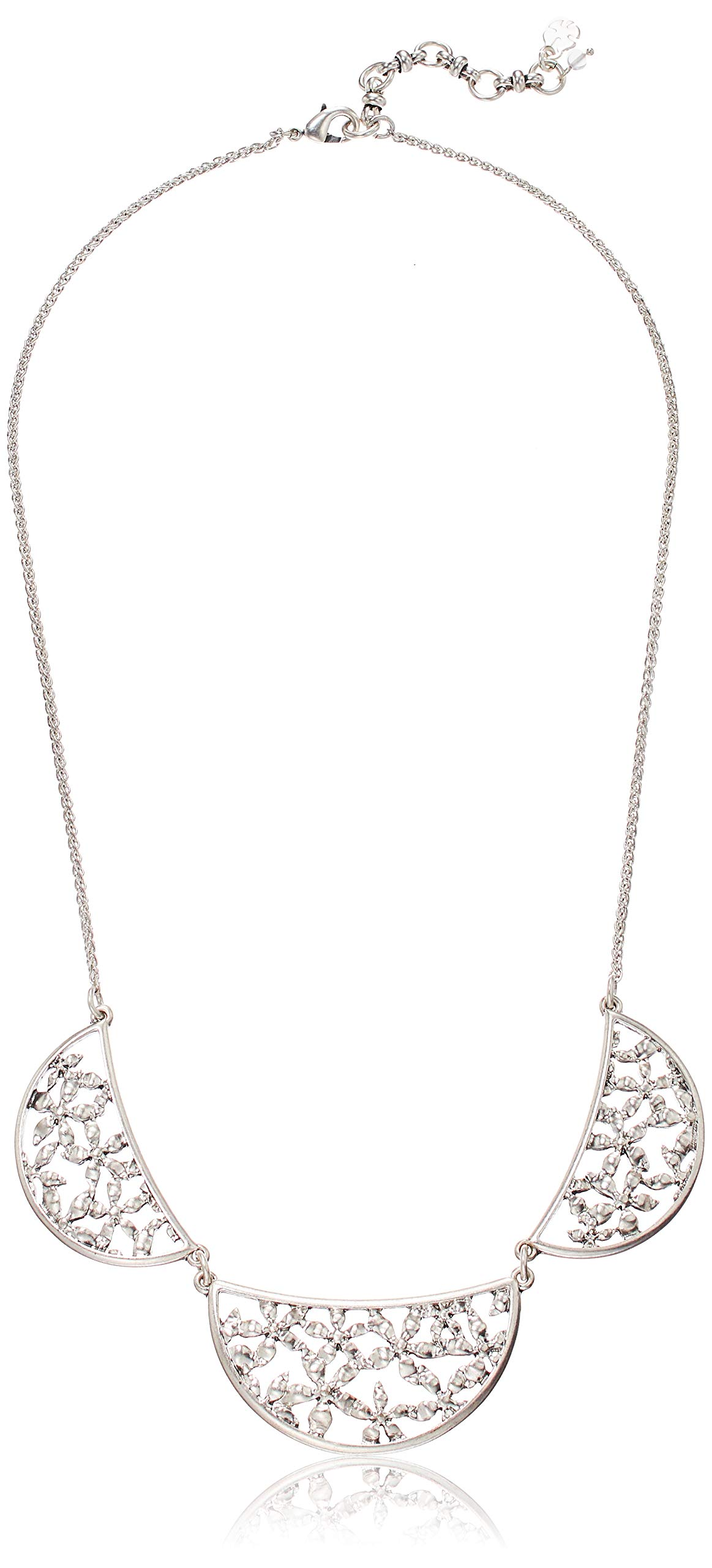 Lucky Brand Women's Open Work Floral Collar Necklace, Silver, One Size