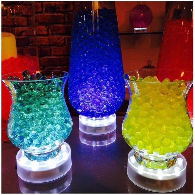 4 inch Acrylic Round Super Bright 15 LED Beads LED Base Light Battery Powered Pedestal Base Plate Light for Wedding Halloween Party Decoration TOPPER SHOW USB Chargeable LED Vase Base Light