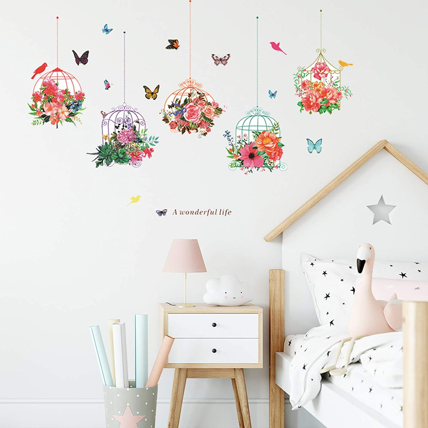 Hanging Birdcage Flower Potted Wall Art Decal Butterfly Flying Birds Green Plants Wall Sticker Spring Wall Art Mural Sticker for Kids Room Bedroom Nursery Decoration