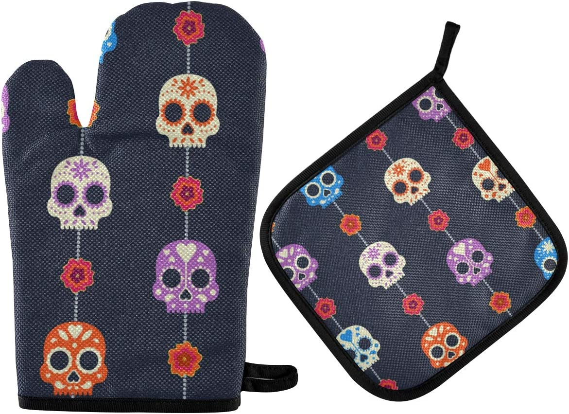 DOMIKING Halloween Oven Mitts Pot Holder Sets - Dead Day Dia Muertos Halloween Mexican Skull Hot Gloves Heat Resistant Hot Pads Non-Slip Potholders for Kitchen BBQ Cooking Baking